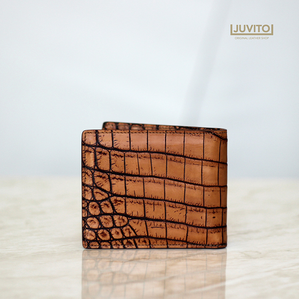 [Two-Tone Skin] CROCODILE S-WALLET / Premium Line Skin / Antique BROWN MATTE/ AB7933M