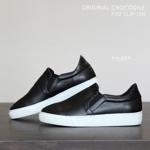 PALMER P70 / SLIP-ON / CROCODILE / BLACK / woman