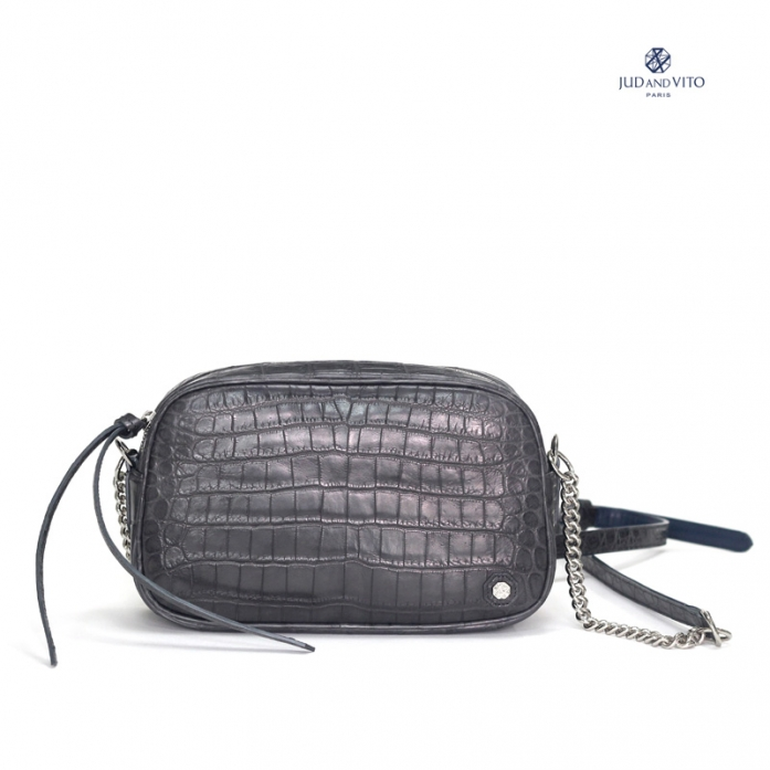 JUDANDVITO FRENCH BRAND / CROCODILE CROSS BAG / DARK GRAY